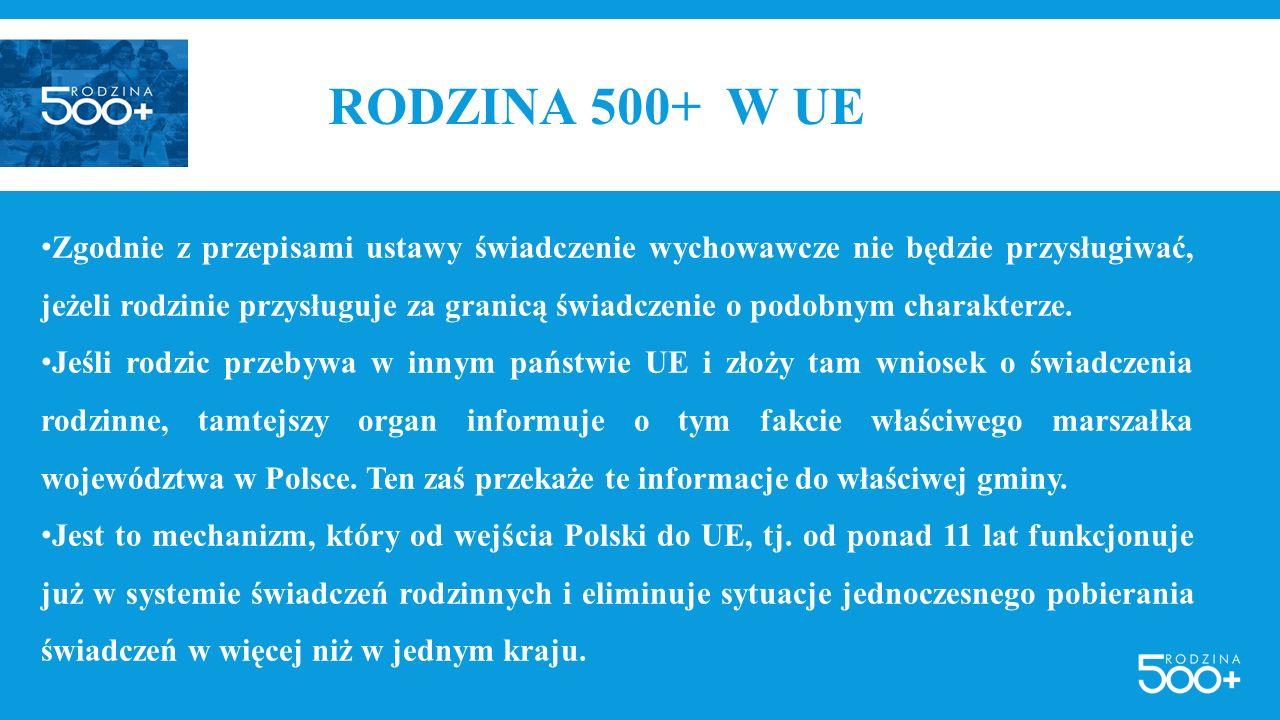 RODZINA 500+ W UE Zgodnie z przepisami ustawy świadczenie wychowawcze nie będzie przysługiwać, jeżeli rodzinie przysługuje za granicą świadczenie o po