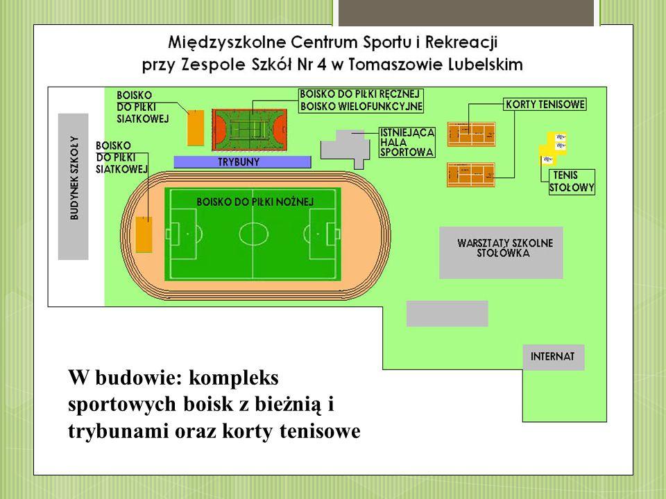 W budowie: kompleks sportowych boisk z bieżnią i trybunami oraz korty tenisowe
