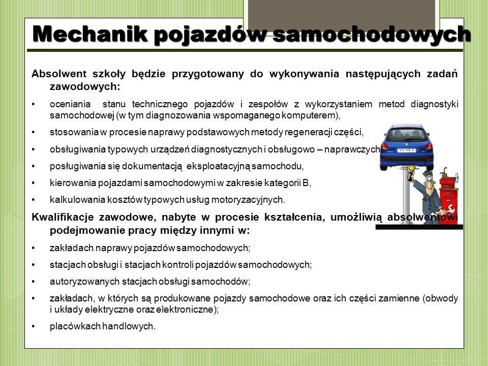 Absolwent szkoły będzie przygotowany do wykonywania następujących zadań zawodowych: oceniania stanu technicznego pojazdów i zespołów z wykorzystaniem