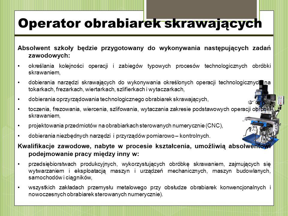 Absolwent szkoły będzie przygotowany do wykonywania następujących zadań zawodowych: określania kolejności operacji i zabiegów typowych procesów techno