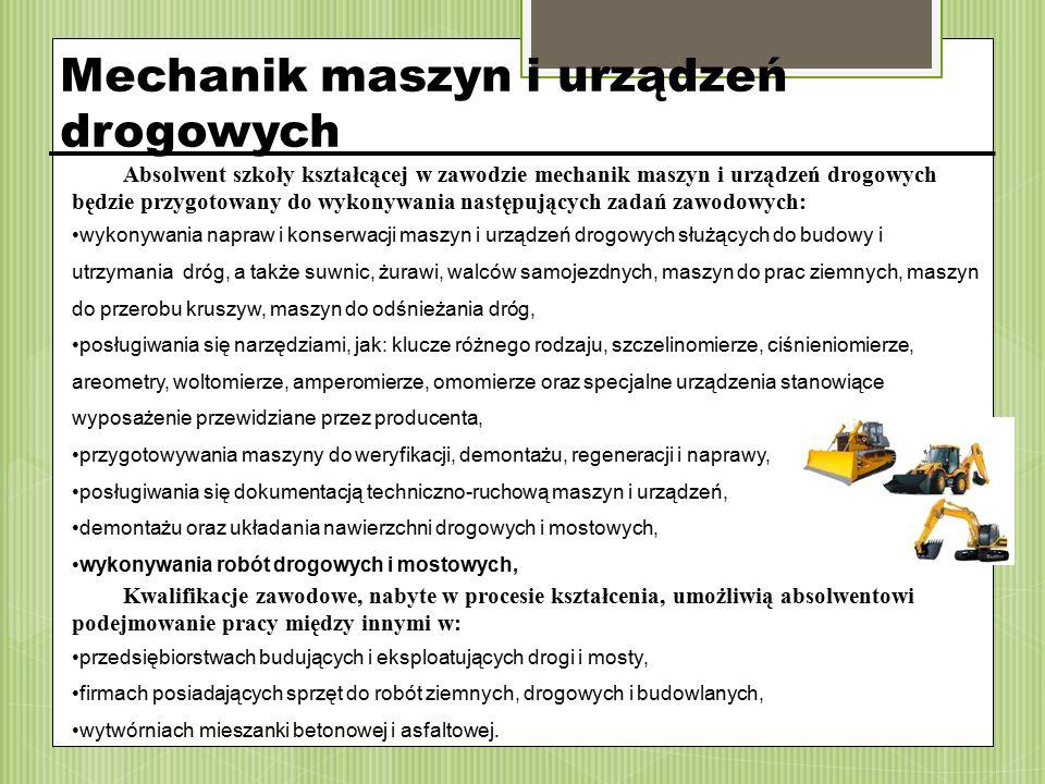 Mechanik maszyn i urządzeń drogowych Absolwent szkoły kształcącej w zawodzie mechanik maszyn i urządzeń drogowych będzie przygotowany do wykonywania n