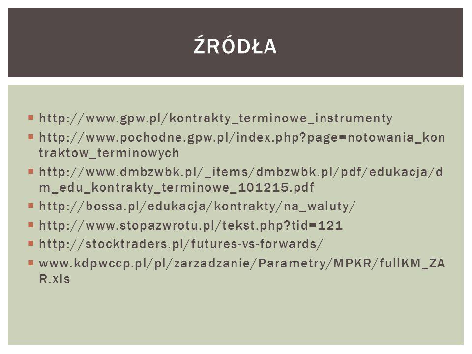  http://www.gpw.pl/kontrakty_terminowe_instrumenty  http://www.pochodne.gpw.pl/index.php page=notowania_kon traktow_terminowych  http://www.dmbzwbk.pl/_items/dmbzwbk.pl/pdf/edukacja/d m_edu_kontrakty_terminowe_101215.pdf  http://bossa.pl/edukacja/kontrakty/na_waluty/  http://www.stopazwrotu.pl/tekst.php tid=121  http://stocktraders.pl/futures-vs-forwards/  www.kdpwccp.pl/pl/zarzadzanie/Parametry/MPKR/fullKM_ZA R.xls ŹRÓDŁA