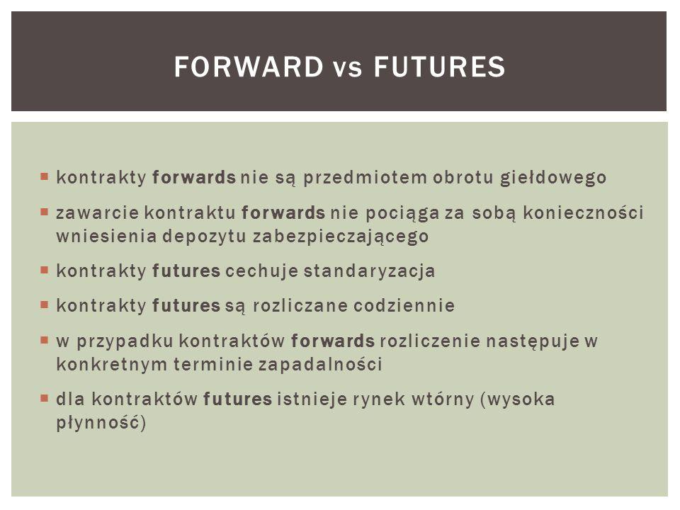  kontrakty forwards nie są przedmiotem obrotu giełdowego  zawarcie kontraktu forwards nie pociąga za sobą konieczności wniesienia depozytu zabezpieczającego  kontrakty futures cechuje standaryzacja  kontrakty futures są rozliczane codziennie  w przypadku kontraktów forwards rozliczenie następuje w konkretnym terminie zapadalności  dla kontraktów futures istnieje rynek wtórny (wysoka płynność) FORWARD vs FUTURES