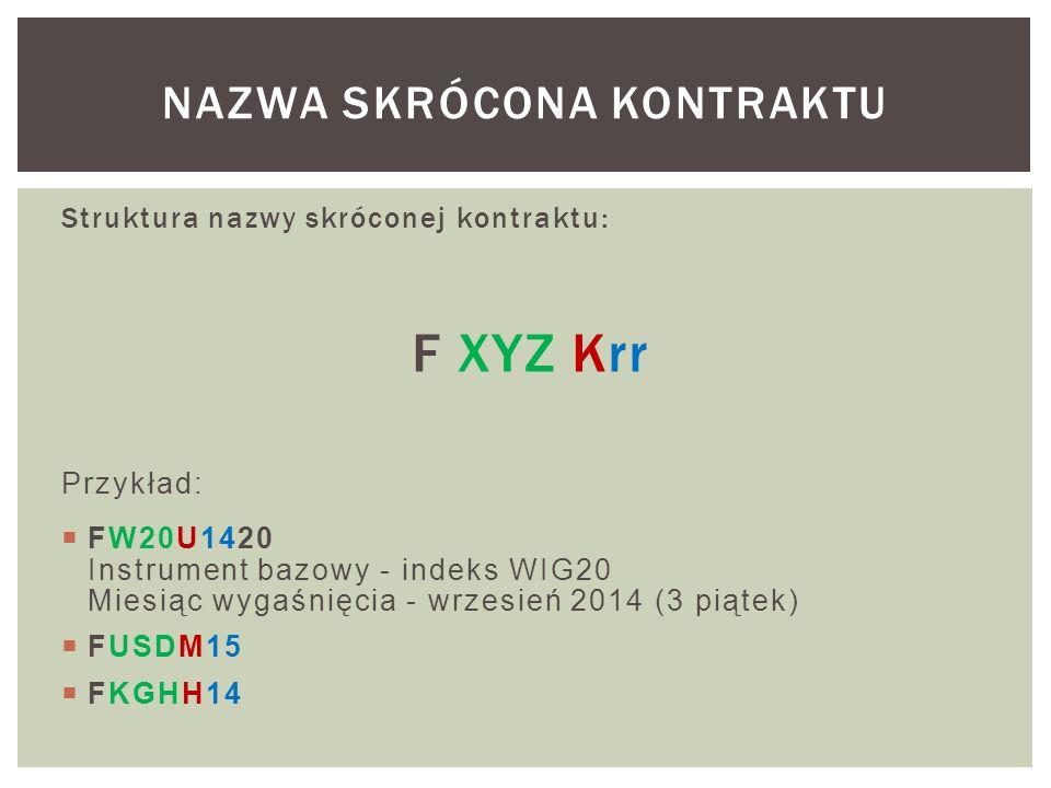 Struktura nazwy skróconej kontraktu: F XYZ Krr Przykład:  FW20U1420 Instrument bazowy - indeks WIG20 Miesiąc wygaśnięcia - wrzesień 2014 (3 piątek)  FUSDM15  FKGHH14 NAZWA SKRÓCONA KONTRAKTU