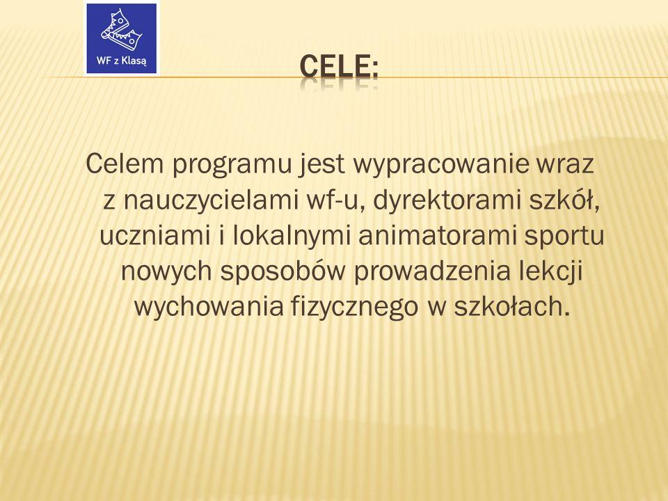 Celem programu jest wypracowanie wraz z nauczycielami wf-u, dyrektorami szkół, uczniami i lokalnymi animatorami sportu nowych sposobów prowadzenia lekcji wychowania fizycznego w szkołach.