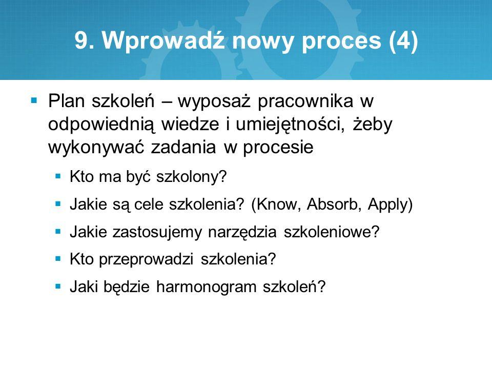 9. Wprowadź nowy proces (4)  Plan szkoleń – wyposaż pracownika w odpowiednią wiedze i umiejętności, żeby wykonywać zadania w procesie  Kto ma być sz