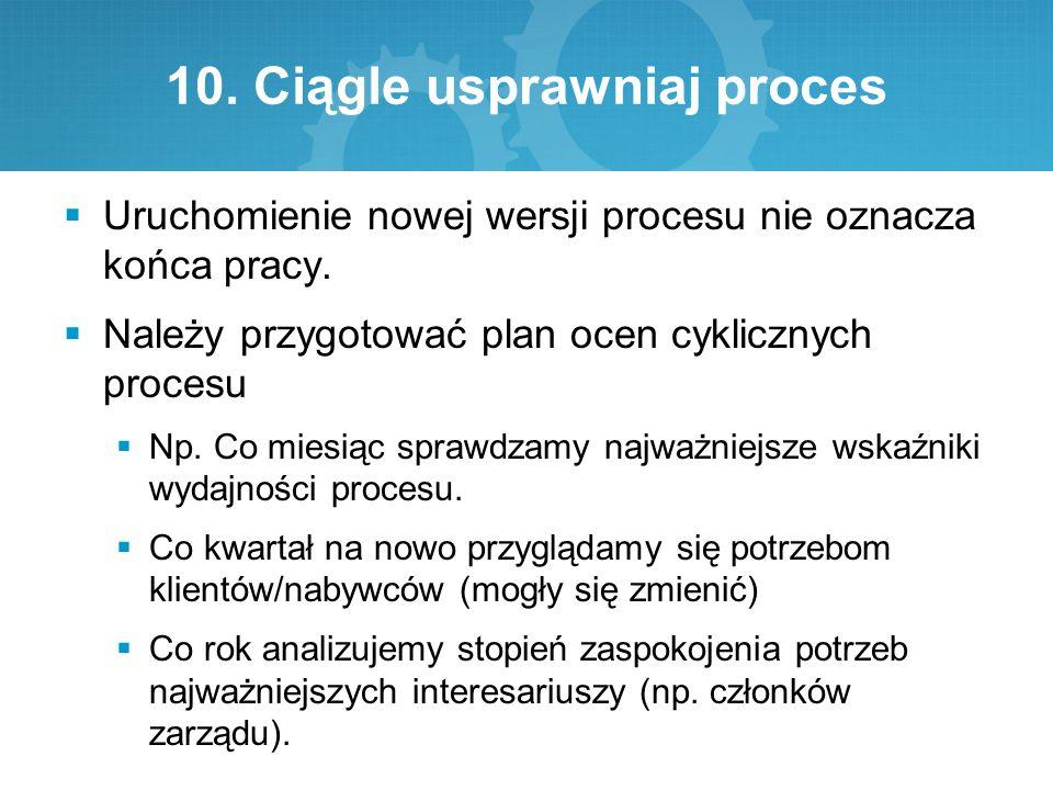 10. Ciągle usprawniaj proces  Uruchomienie nowej wersji procesu nie oznacza końca pracy.  Należy przygotować plan ocen cyklicznych procesu  Np. Co