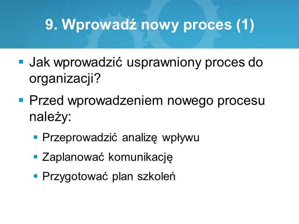 9. Wprowadź nowy proces (1)  Jak wprowadzić usprawniony proces do organizacji?  Przed wprowadzeniem nowego procesu należy:  Przeprowadzić analizę w