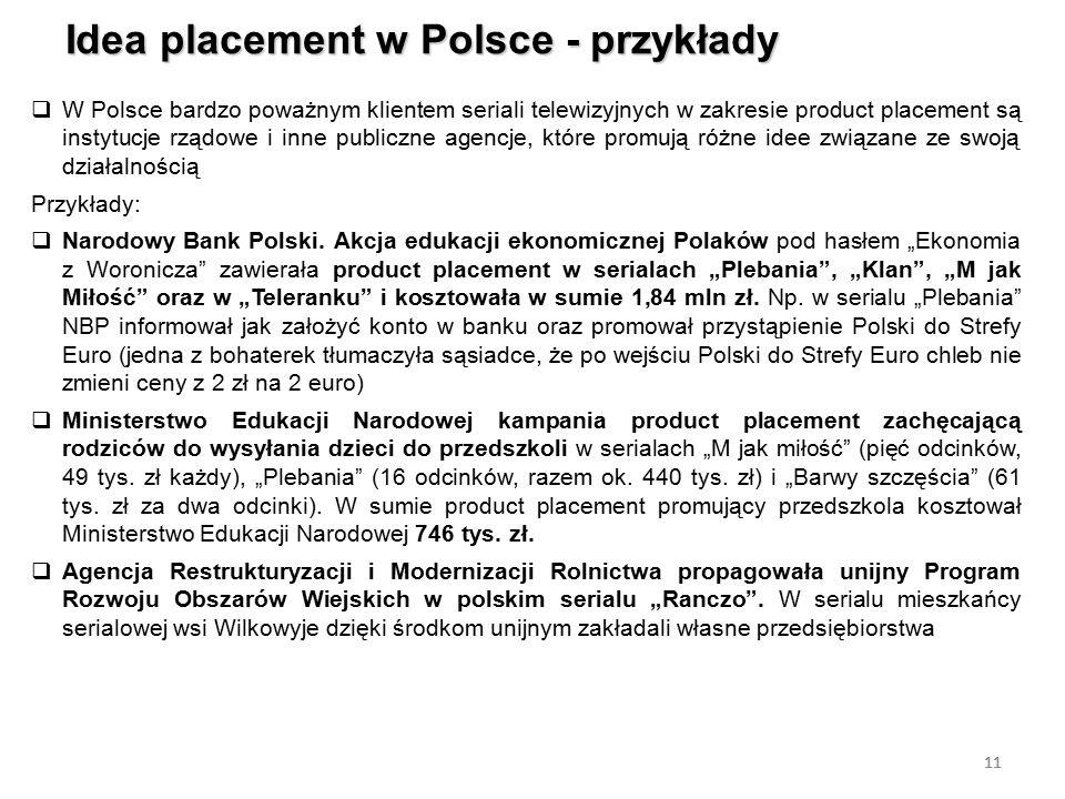 11 Idea placement w Polsce - przykłady 11  W Polsce bardzo poważnym klientem seriali telewizyjnych w zakresie product placement są instytucje rządowe