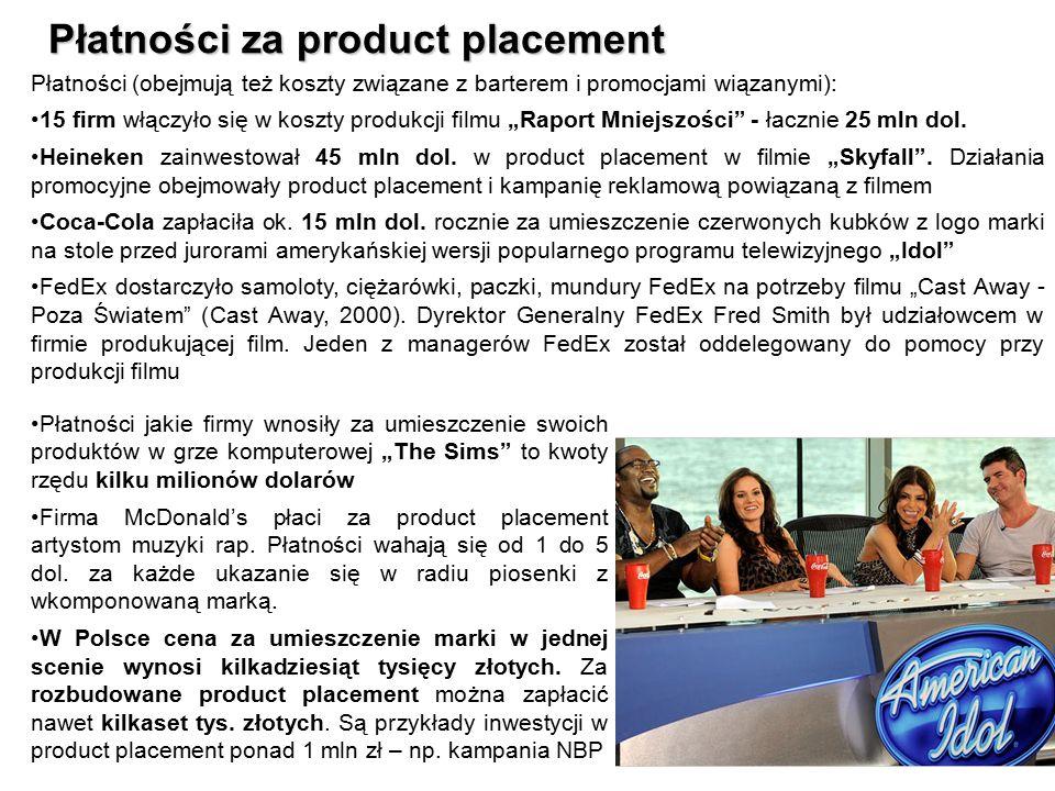 13 Płatności za product placement 13 Płatności (obejmują też koszty związane z barterem i promocjami wiązanymi): 15 firm włączyło się w koszty produkc