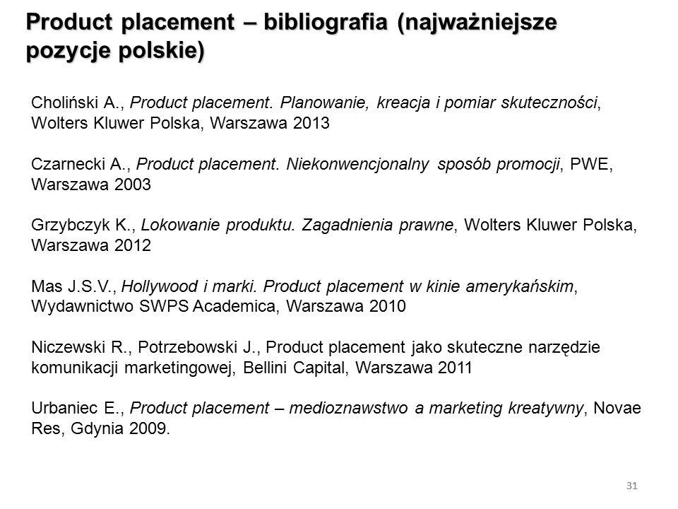 31 Product placement – bibliografia (najważniejsze pozycje polskie) 31 Choliński A., Product placement. Planowanie, kreacja i pomiar skuteczności, Wol