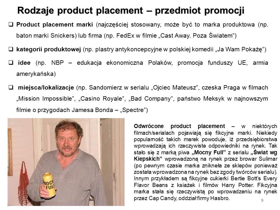 9 Rodzaje product placement – przedmiot promocji 9  Product placement marki (najczęściej stosowany, może być to marka produktowa (np. baton marki Sni