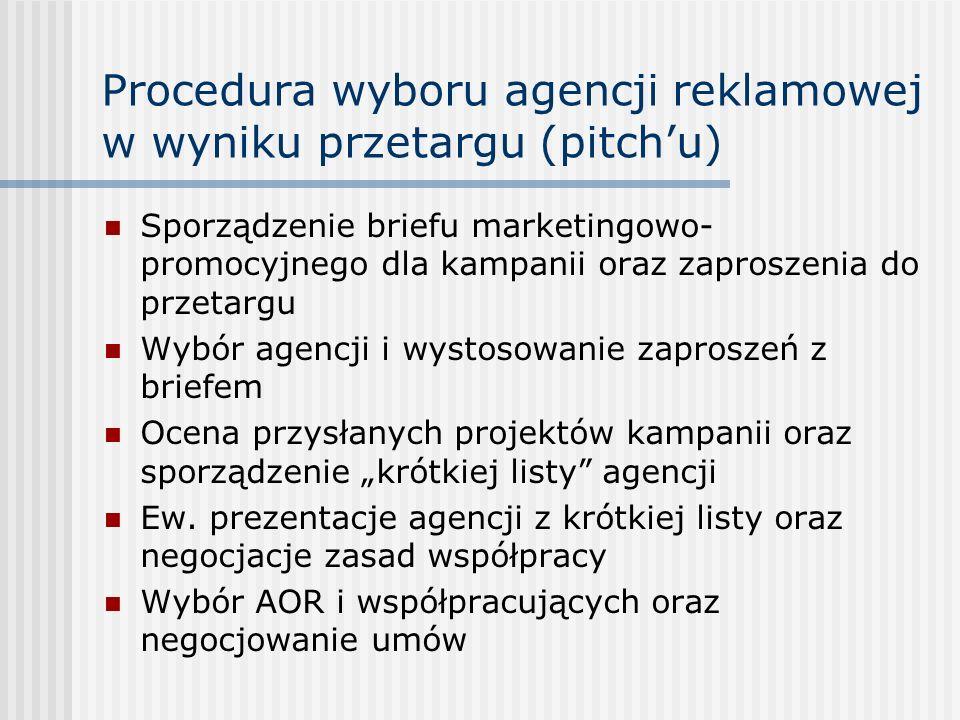 """Procedura wyboru agencji reklamowej w wyniku przetargu (pitch'u) Sporządzenie briefu marketingowo- promocyjnego dla kampanii oraz zaproszenia do przetargu Wybór agencji i wystosowanie zaproszeń z briefem Ocena przysłanych projektów kampanii oraz sporządzenie """"krótkiej listy agencji Ew."""