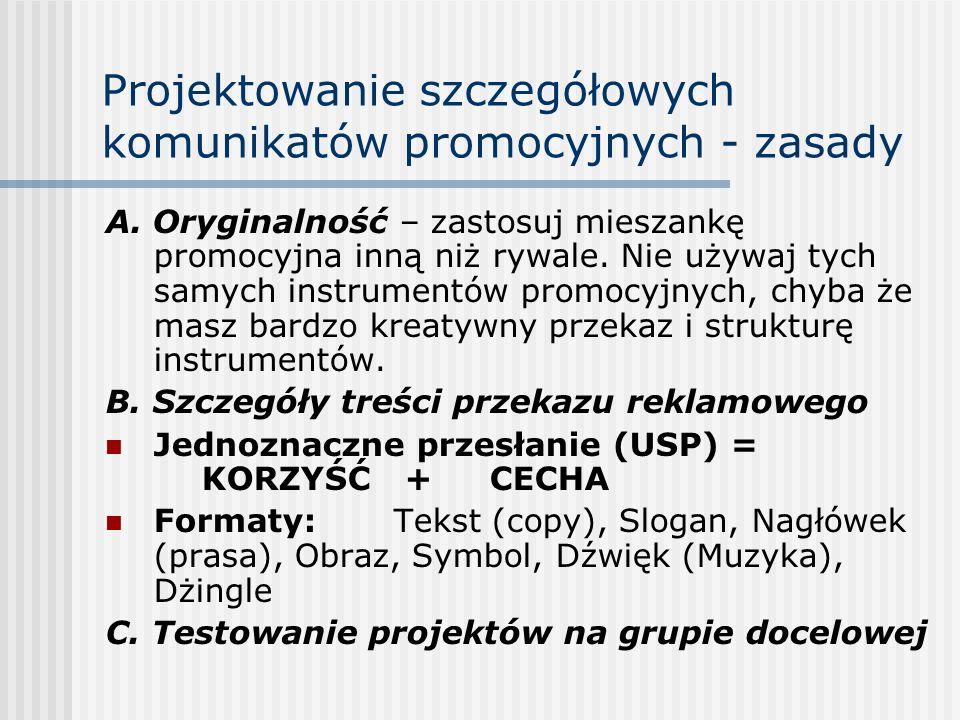 Projektowanie szczegółowych komunikatów promocyjnych - zasady A.