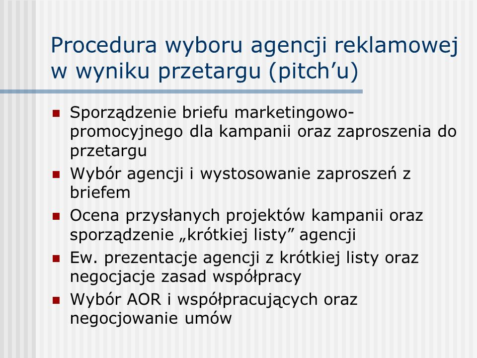 Procedura wyboru agencji reklamowej w wyniku przetargu (pitch'u) Sporządzenie briefu marketingowo- promocyjnego dla kampanii oraz zaproszenia do przet