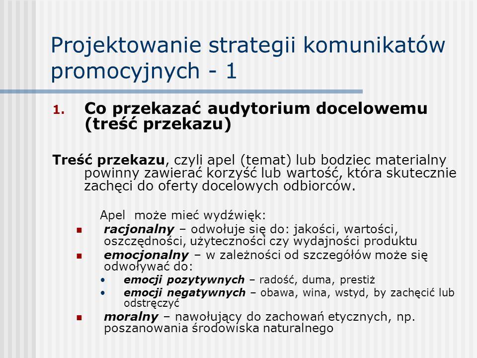 Projektowanie strategii komunikatów promocyjnych - 1 1. Co przekazać audytorium docelowemu (treść przekazu) Treść przekazu, czyli apel (temat) lub bod