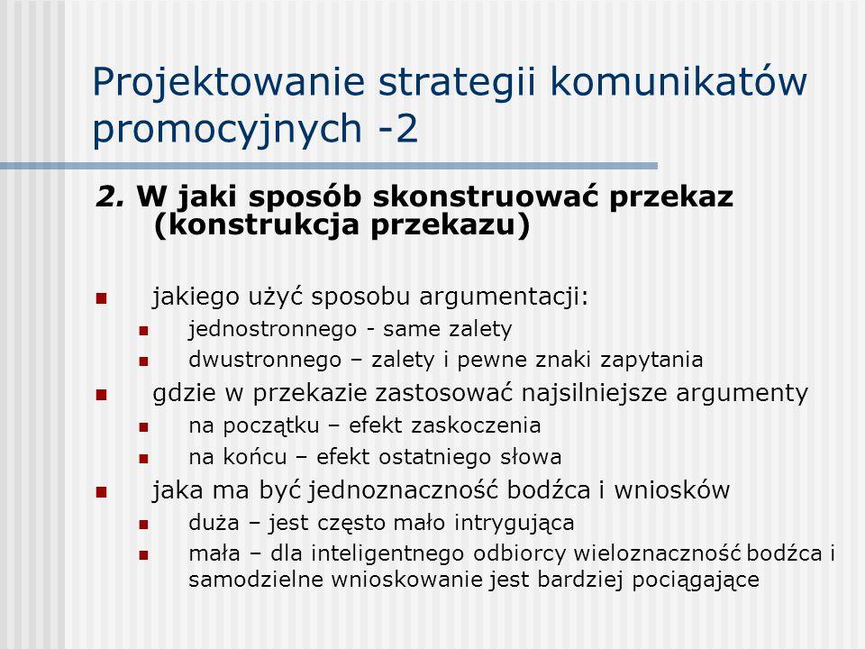 Projektowanie strategii komunikatów promocyjnych -2 2. W jaki sposób skonstruować przekaz (konstrukcja przekazu) jakiego użyć sposobu argumentacji: je