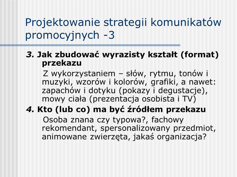 Projektowanie strategii komunikatów promocyjnych -3 3. Jak zbudować wyrazisty kształt (format) przekazu Z wykorzystaniem – słów, rytmu, tonów i muzyki