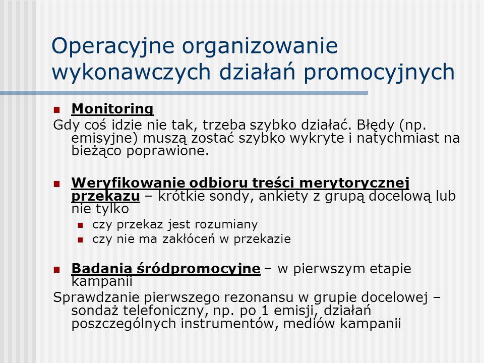 Operacyjne organizowanie wykonawczych działań promocyjnych Monitoring Gdy coś idzie nie tak, trzeba szybko działać. Błędy (np. emisyjne) muszą zostać