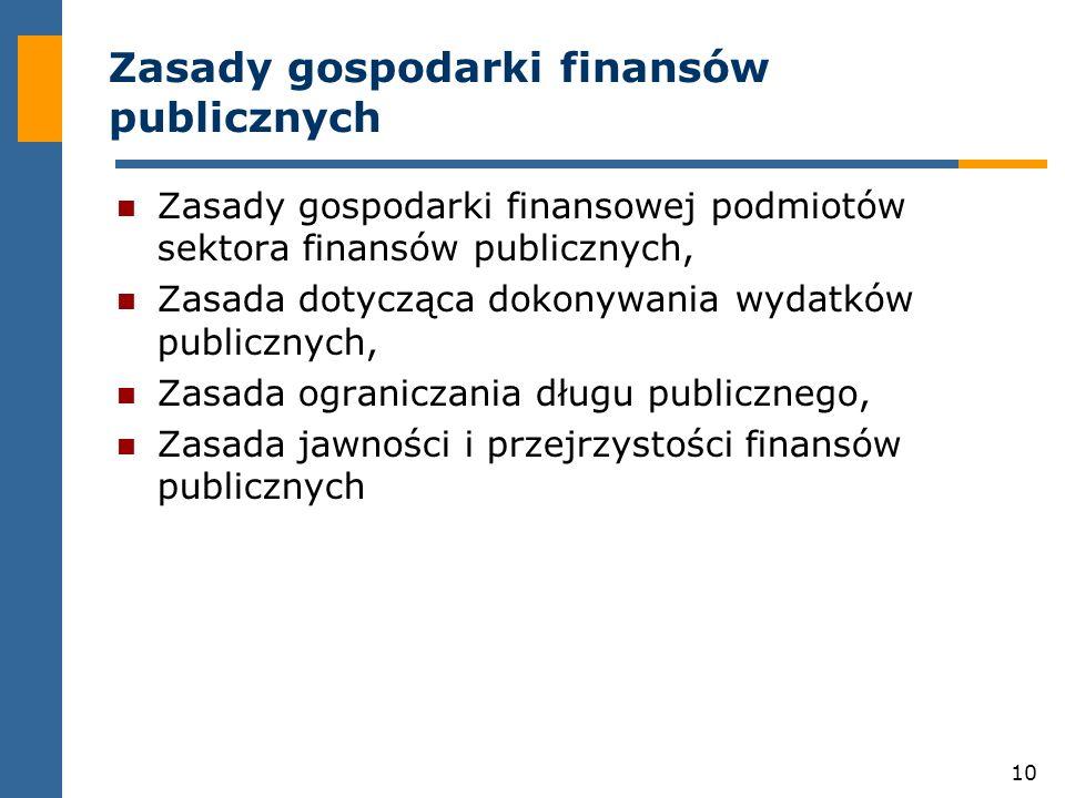 10 Zasady gospodarki finansów publicznych Zasady gospodarki finansowej podmiotów sektora finansów publicznych, Zasada dotycząca dokonywania wydatków publicznych, Zasada ograniczania długu publicznego, Zasada jawności i przejrzystości finansów publicznych