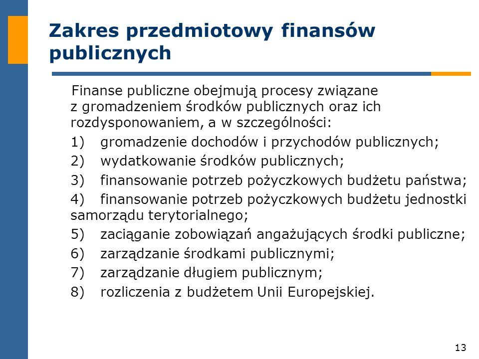 13 Zakres przedmiotowy finansów publicznych Finanse publiczne obejmują procesy związane z gromadzeniem środków publicznych oraz ich rozdysponowaniem, a w szczególności: 1)gromadzenie dochodów i przychodów publicznych; 2)wydatkowanie środków publicznych; 3)finansowanie potrzeb pożyczkowych budżetu państwa; 4)finansowanie potrzeb pożyczkowych budżetu jednostki samorządu terytorialnego; 5)zaciąganie zobowiązań angażujących środki publiczne; 6)zarządzanie środkami publicznymi; 7)zarządzanie długiem publicznym; 8)rozliczenia z budżetem Unii Europejskiej.