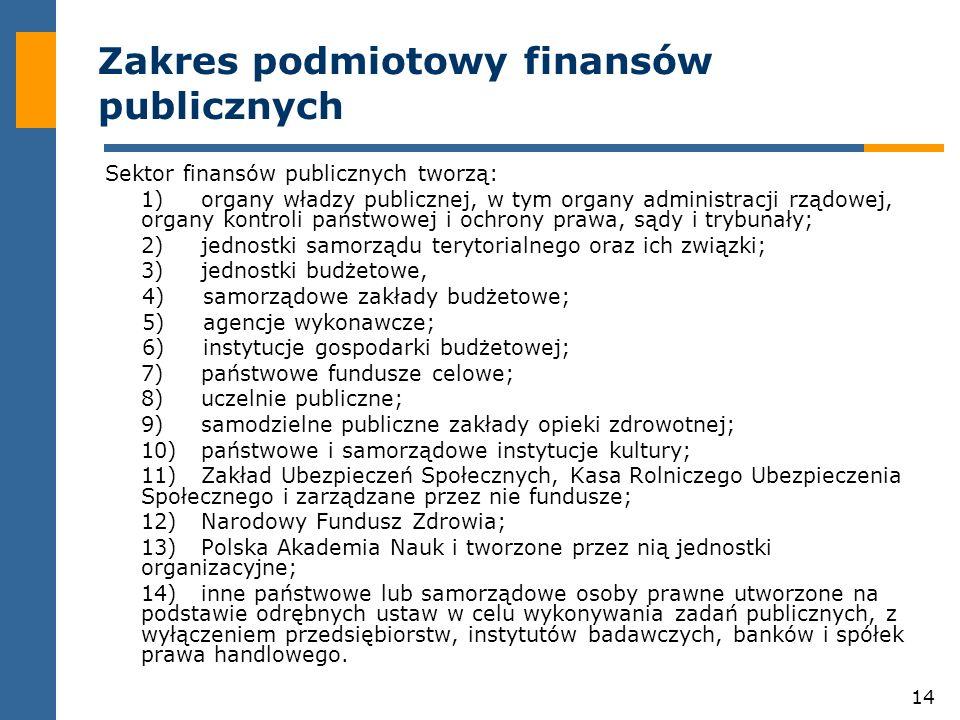 14 Zakres podmiotowy finansów publicznych Sektor finansów publicznych tworzą: 1)organy władzy publicznej, w tym organy administracji rządowej, organy kontroli państwowej i ochrony prawa, sądy i trybunały; 2)jednostki samorządu terytorialnego oraz ich związki; 3)jednostki budżetowe, 4) samorządowe zakłady budżetowe; 5) agencje wykonawcze; 6) instytucje gospodarki budżetowej; 7)państwowe fundusze celowe; 8)uczelnie publiczne; 9)samodzielne publiczne zakłady opieki zdrowotnej; 10)państwowe i samorządowe instytucje kultury; 11)Zakład Ubezpieczeń Społecznych, Kasa Rolniczego Ubezpieczenia Społecznego i zarządzane przez nie fundusze; 12)Narodowy Fundusz Zdrowia; 13)Polska Akademia Nauk i tworzone przez nią jednostki organizacyjne; 14)inne państwowe lub samorządowe osoby prawne utworzone na podstawie odrębnych ustaw w celu wykonywania zadań publicznych, z wyłączeniem przedsiębiorstw, instytutów badawczych, banków i spółek prawa handlowego.