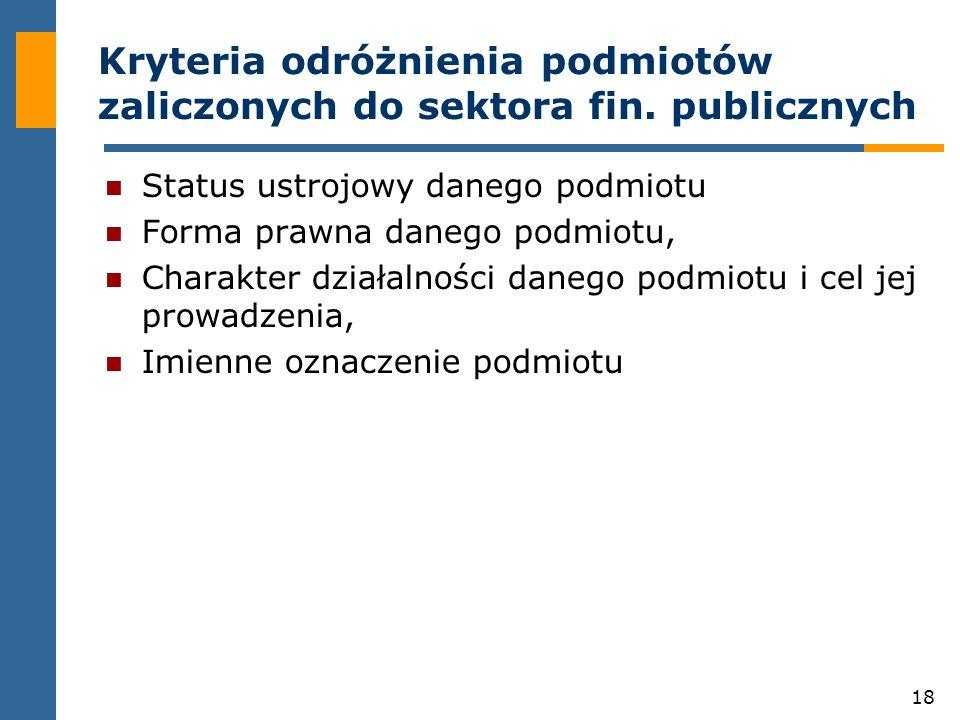 18 Kryteria odróżnienia podmiotów zaliczonych do sektora fin.
