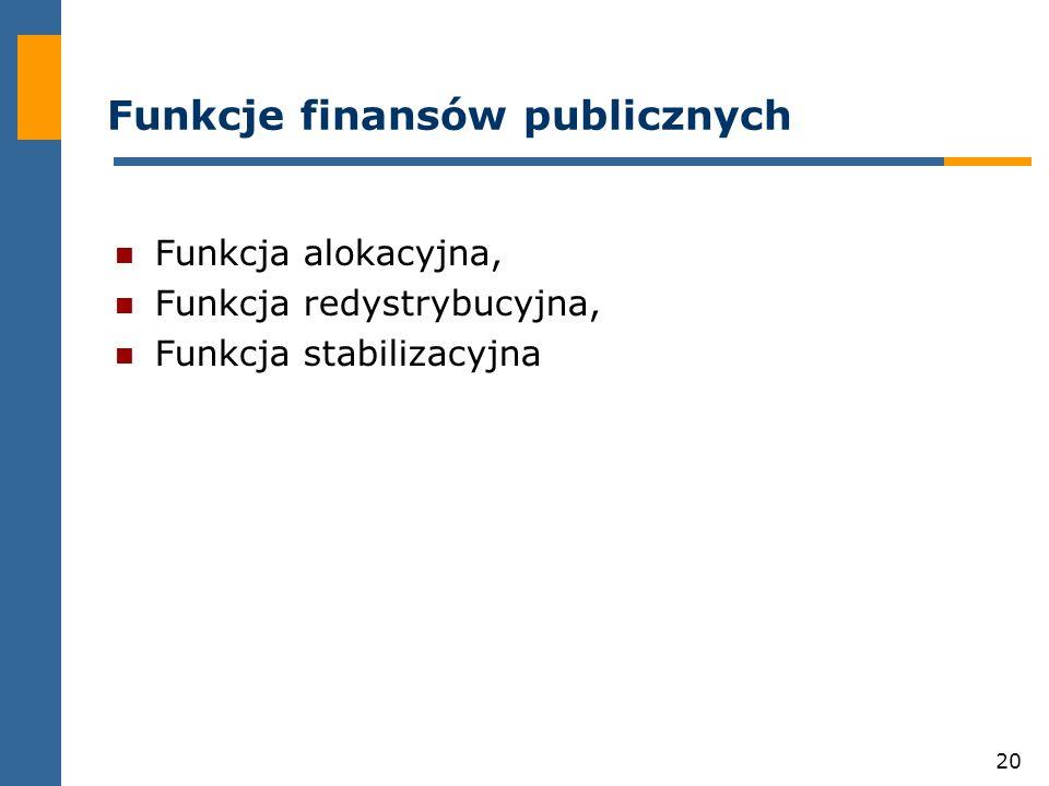 20 Funkcje finansów publicznych Funkcja alokacyjna, Funkcja redystrybucyjna, Funkcja stabilizacyjna