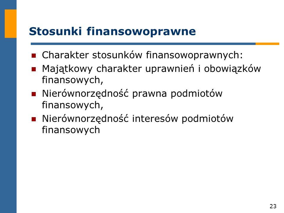 23 Stosunki finansowoprawne Charakter stosunków finansowoprawnych: Majątkowy charakter uprawnień i obowiązków finansowych, Nierównorzędność prawna podmiotów finansowych, Nierównorzędność interesów podmiotów finansowych