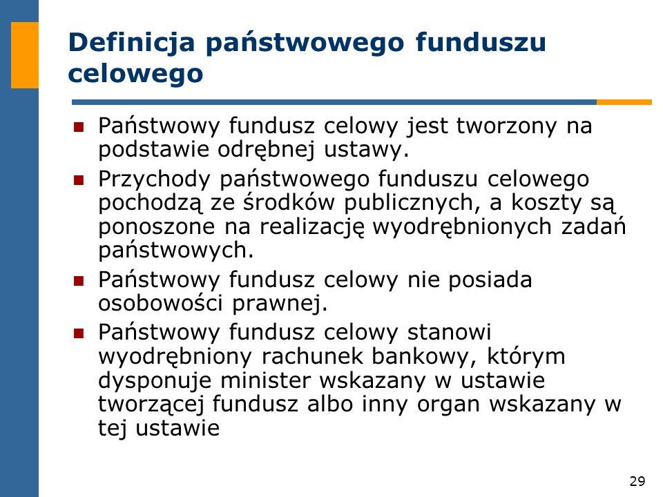 29 Definicja państwowego funduszu celowego Państwowy fundusz celowy jest tworzony na podstawie odrębnej ustawy.