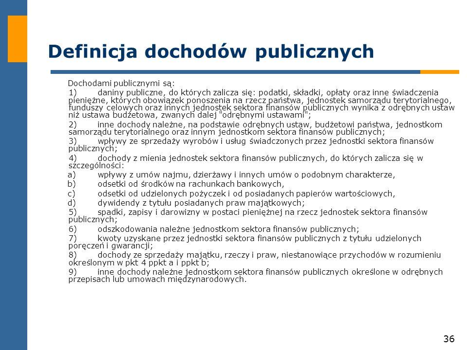 36 Definicja dochodów publicznych Dochodami publicznymi są: 1)daniny publiczne, do których zalicza się: podatki, składki, opłaty oraz inne świadczenia pieniężne, których obowiązek ponoszenia na rzecz państwa, jednostek samorządu terytorialnego, funduszy celowych oraz innych jednostek sektora finansów publicznych wynika z odrębnych ustaw niż ustawa budżetowa, zwanych dalej odrębnymi ustawami ; 2)inne dochody należne, na podstawie odrębnych ustaw, budżetowi państwa, jednostkom samorządu terytorialnego oraz innym jednostkom sektora finansów publicznych; 3)wpływy ze sprzedaży wyrobów i usług świadczonych przez jednostki sektora finansów publicznych; 4)dochody z mienia jednostek sektora finansów publicznych, do których zalicza się w szczególności: a)wpływy z umów najmu, dzierżawy i innych umów o podobnym charakterze, b)odsetki od środków na rachunkach bankowych, c)odsetki od udzielonych pożyczek i od posiadanych papierów wartościowych, d)dywidendy z tytułu posiadanych praw majątkowych; 5)spadki, zapisy i darowizny w postaci pieniężnej na rzecz jednostek sektora finansów publicznych; 6)odszkodowania należne jednostkom sektora finansów publicznych; 7)kwoty uzyskane przez jednostki sektora finansów publicznych z tytułu udzielonych poręczeń i gwarancji; 8)dochody ze sprzedaży majątku, rzeczy i praw, niestanowiące przychodów w rozumieniu określonym w pkt 4 ppkt a i ppkt b; 9)inne dochody należne jednostkom sektora finansów publicznych określone w odrębnych przepisach lub umowach międzynarodowych.