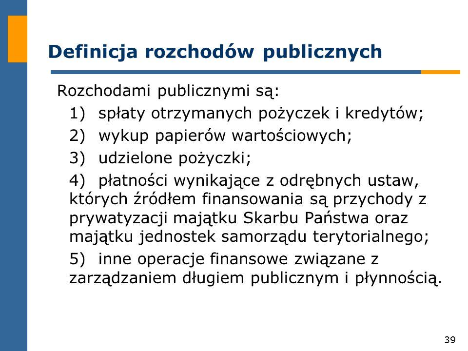 39 Definicja rozchodów publicznych Rozchodami publicznymi są: 1)spłaty otrzymanych pożyczek i kredytów; 2)wykup papierów wartościowych; 3)udzielone pożyczki; 4)płatności wynikające z odrębnych ustaw, których źródłem finansowania są przychody z prywatyzacji majątku Skarbu Państwa oraz majątku jednostek samorządu terytorialnego; 5)inne operacje finansowe związane z zarządzaniem długiem publicznym i płynnością.