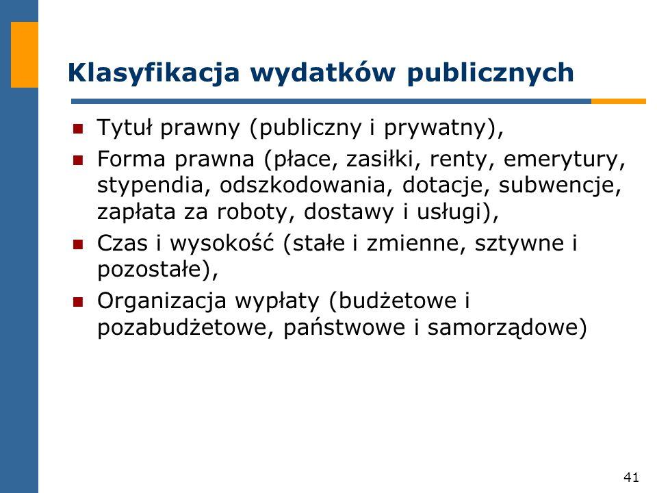 41 Klasyfikacja wydatków publicznych Tytuł prawny (publiczny i prywatny), Forma prawna (płace, zasiłki, renty, emerytury, stypendia, odszkodowania, dotacje, subwencje, zapłata za roboty, dostawy i usługi), Czas i wysokość (stałe i zmienne, sztywne i pozostałe), Organizacja wypłaty (budżetowe i pozabudżetowe, państwowe i samorządowe)