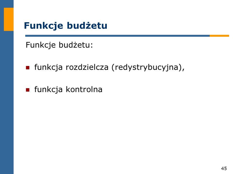 45 Funkcje budżetu Funkcje budżetu: funkcja rozdzielcza (redystrybucyjna), funkcja kontrolna