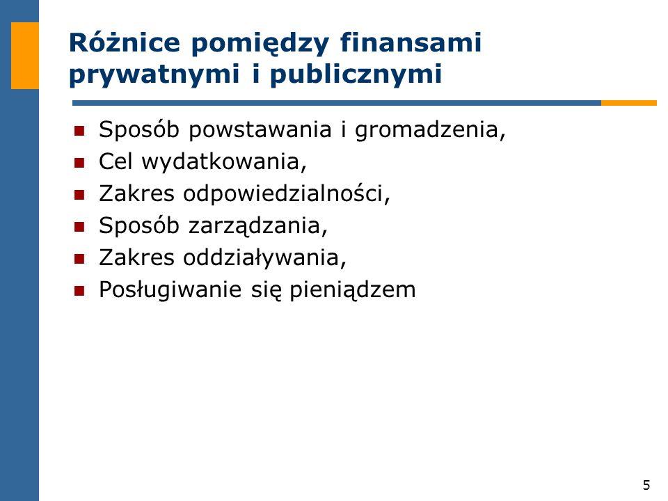 5 Różnice pomiędzy finansami prywatnymi i publicznymi Sposób powstawania i gromadzenia, Cel wydatkowania, Zakres odpowiedzialności, Sposób zarządzania, Zakres oddziaływania, Posługiwanie się pieniądzem
