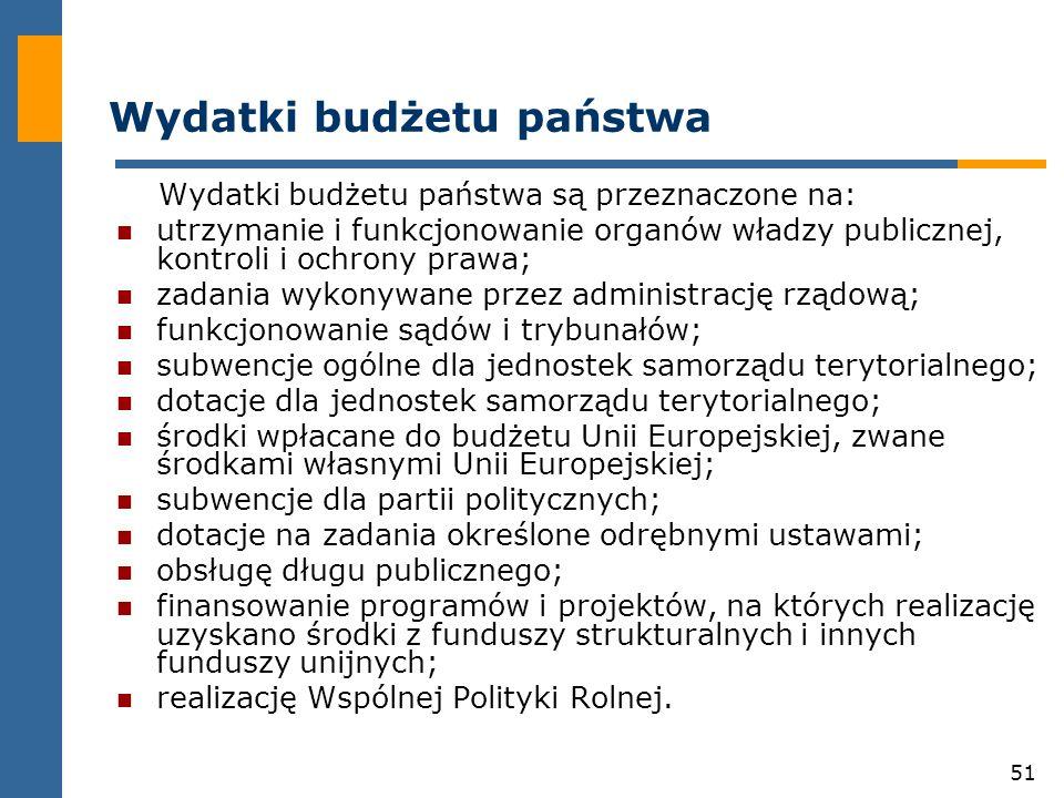 51 Wydatki budżetu państwa Wydatki budżetu państwa są przeznaczone na: utrzymanie i funkcjonowanie organów władzy publicznej, kontroli i ochrony prawa; zadania wykonywane przez administrację rządową; funkcjonowanie sądów i trybunałów; subwencje ogólne dla jednostek samorządu terytorialnego; dotacje dla jednostek samorządu terytorialnego; środki wpłacane do budżetu Unii Europejskiej, zwane środkami własnymi Unii Europejskiej; subwencje dla partii politycznych; dotacje na zadania określone odrębnymi ustawami; obsługę długu publicznego; finansowanie programów i projektów, na których realizację uzyskano środki z funduszy strukturalnych i innych funduszy unijnych; realizację Wspólnej Polityki Rolnej.