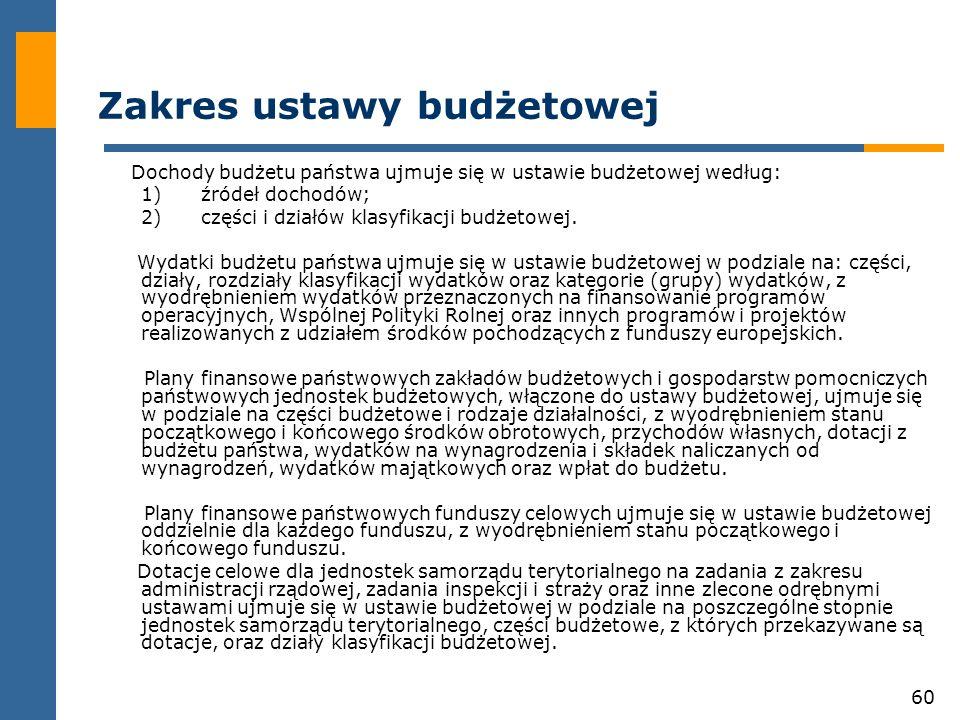 60 Zakres ustawy budżetowej Dochody budżetu państwa ujmuje się w ustawie budżetowej według: 1)źródeł dochodów; 2)części i działów klasyfikacji budżetowej.
