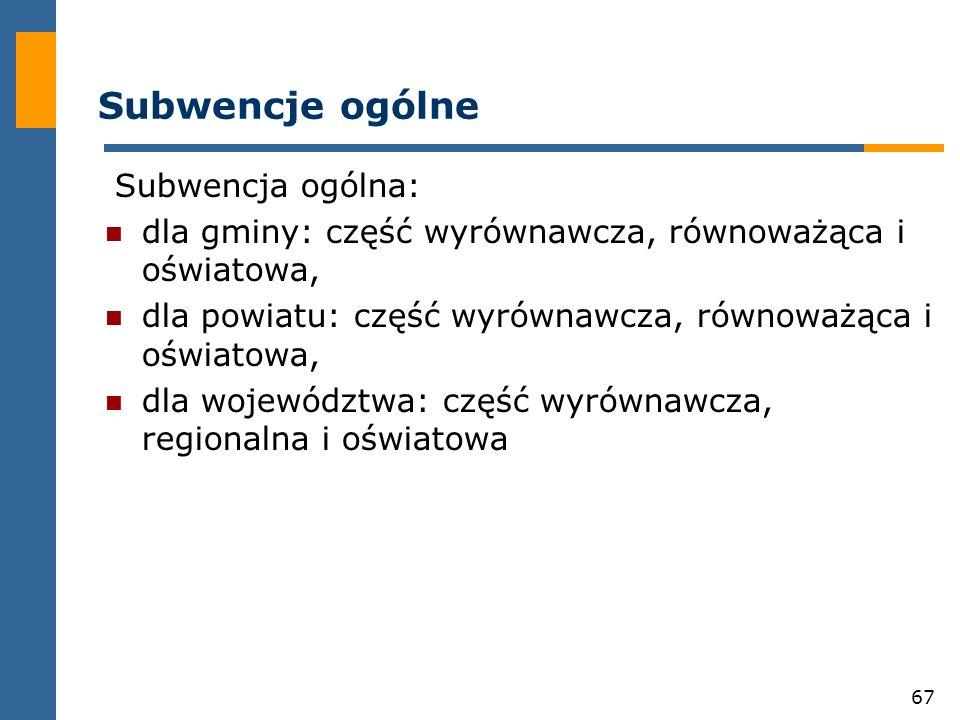 67 Subwencje ogólne Subwencja ogólna: dla gminy: część wyrównawcza, równoważąca i oświatowa, dla powiatu: część wyrównawcza, równoważąca i oświatowa, dla województwa: część wyrównawcza, regionalna i oświatowa