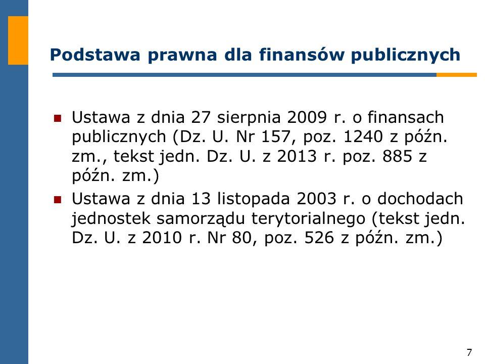38 Przeznaczenie środków publicznych Środki publiczne przeznacza się na: wydatki publiczne; rozchody publiczne, w tym na rozchody budżetu państwa i budżetów jednostek samorządu terytorialnego.