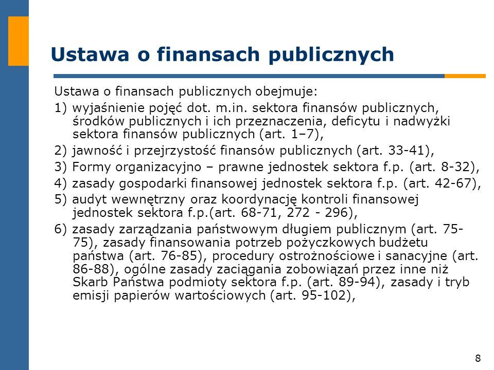 8 Ustawa o finansach publicznych Ustawa o finansach publicznych obejmuje: 1) wyjaśnienie pojęć dot.