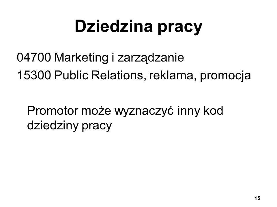 15 Dziedzina pracy 04700 Marketing i zarządzanie 15300 Public Relations, reklama, promocja Promotor może wyznaczyć inny kod dziedziny pracy
