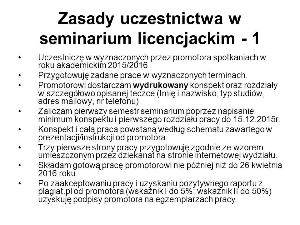 Zasady uczestnictwa w seminarium licencjackim - 1 Uczestniczę w wyznaczonych przez promotora spotkaniach w roku akademickim 2015/2016 Przygotowuję zad