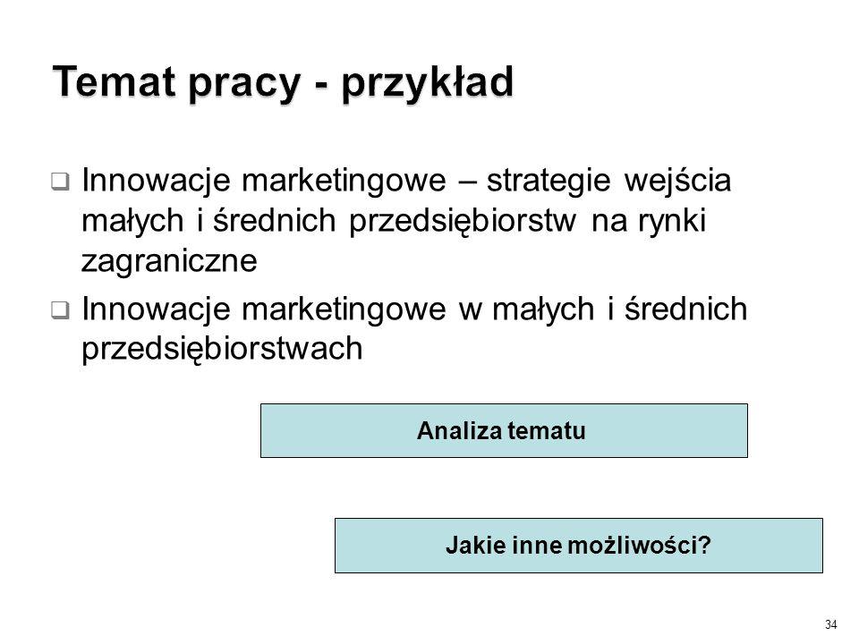 34 Analiza tematu Jakie inne możliwości?  Innowacje marketingowe – strategie wejścia małych i średnich przedsiębiorstw na rynki zagraniczne  Innowac