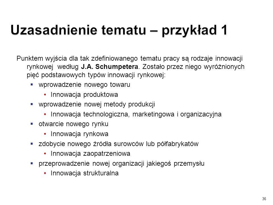 Punktem wyjścia dla tak zdefiniowanego tematu pracy są rodzaje innowacji rynkowej według J.A. Schumpetera. Zostało przez niego wyróżnionych pięć podst
