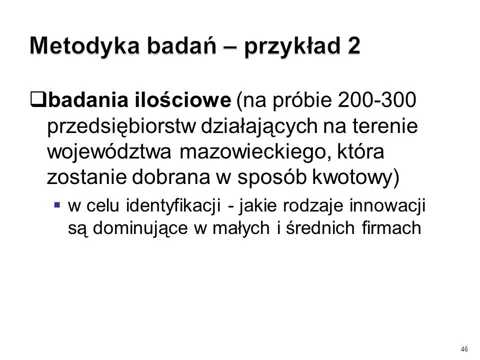  badania ilościowe (na próbie 200-300 przedsiębiorstw działających na terenie województwa mazowieckiego, która zostanie dobrana w sposób kwotowy)  w