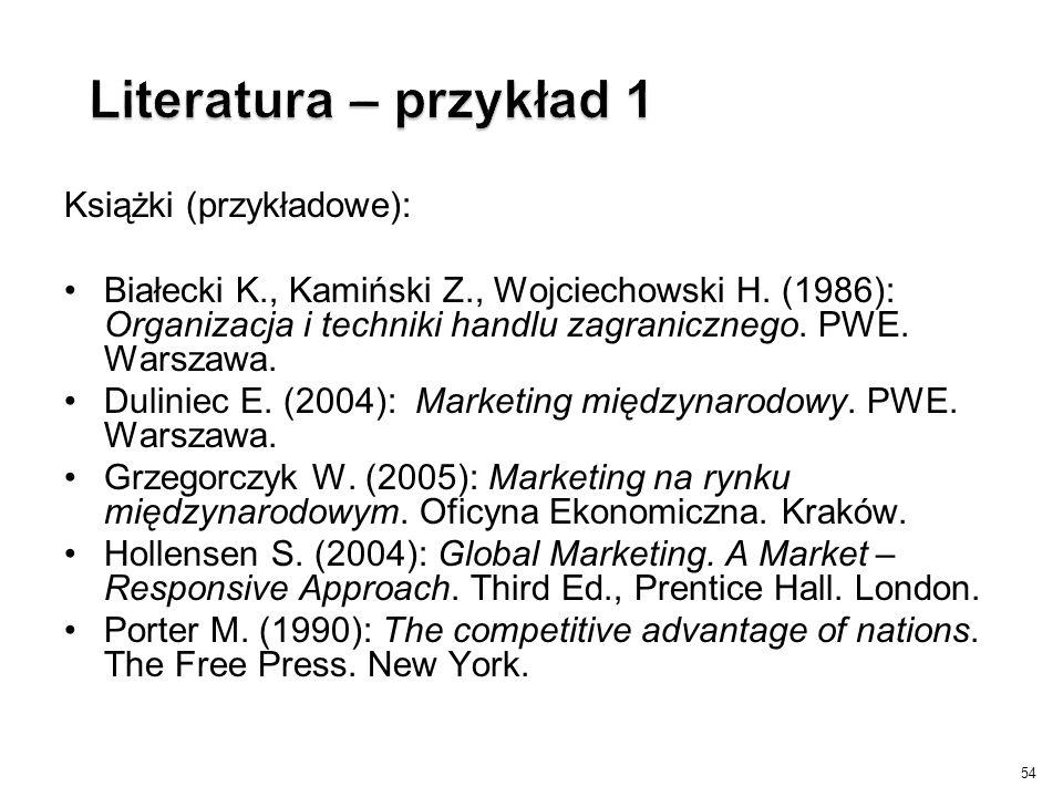 Książki (przykładowe): Białecki K., Kamiński Z., Wojciechowski H. (1986): Organizacja i techniki handlu zagranicznego. PWE. Warszawa. Duliniec E. (200