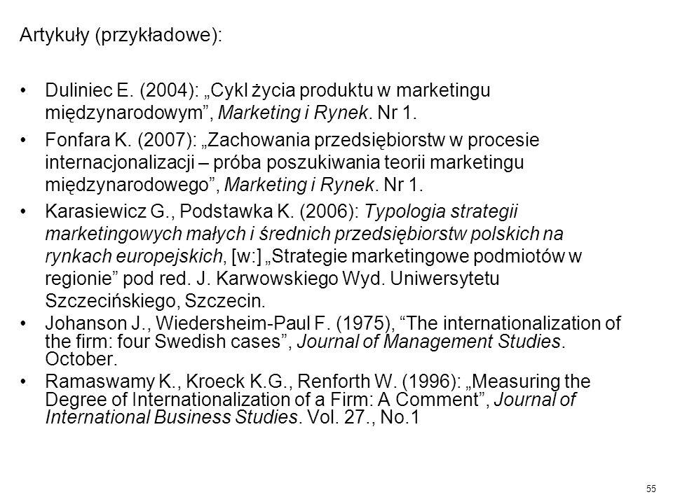 """Artykuły (przykładowe): Duliniec E. (2004): """"Cykl życia produktu w marketingu międzynarodowym"""", Marketing i Rynek. Nr 1. Fonfara K. (2007): """"Zachowani"""