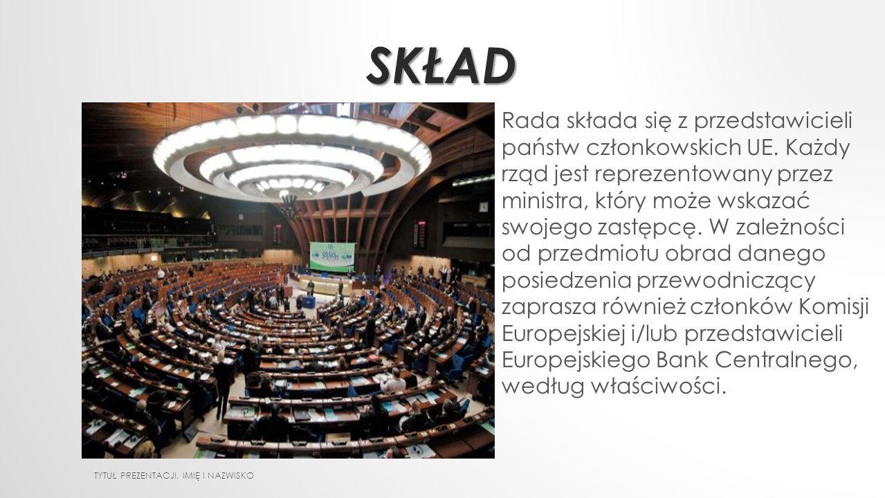 SKŁAD TYTUŁ PREZENTACJI, IMIĘ I NAZWISKO Rada składa się z przedstawicieli państw członkowskich UE. Każdy rząd jest reprezentowany przez ministra, któ
