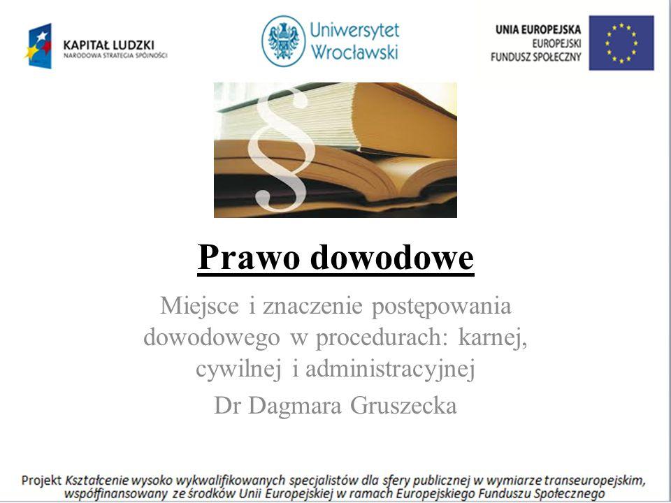Prawo dowodowe Miejsce i znaczenie postępowania dowodowego w procedurach: karnej, cywilnej i administracyjnej Dr Dagmara Gruszecka
