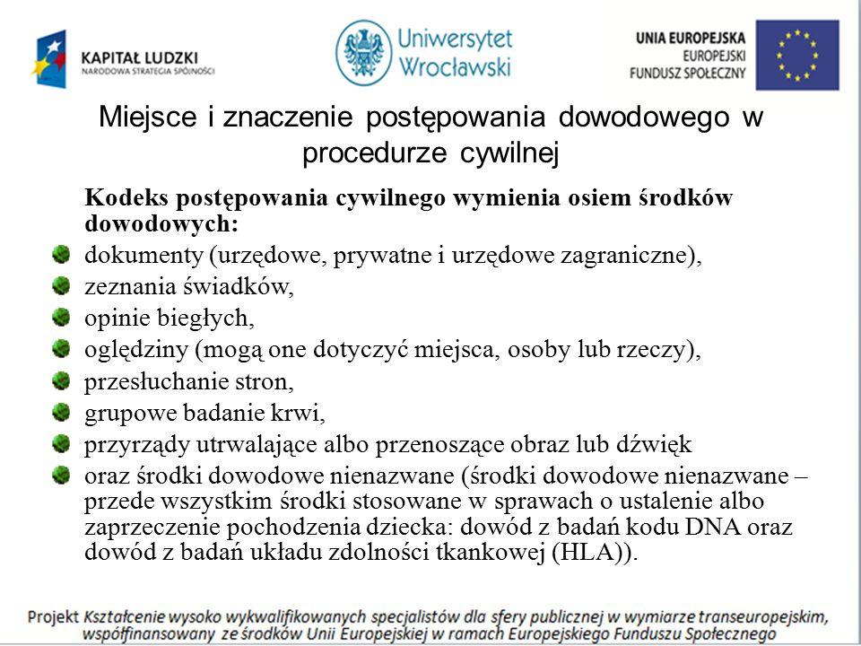 Miejsce i znaczenie postępowania dowodowego w procedurze cywilnej Kodeks postępowania cywilnego wymienia osiem środków dowodowych: dokumenty (urzędowe